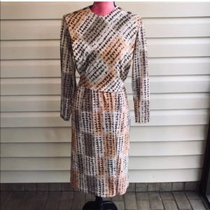 Vintage Midcentury Modern MCM Brown Bib Dress